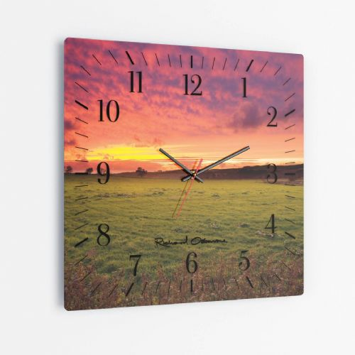 Sunset, Forest of Bowland - Square Glass Clock